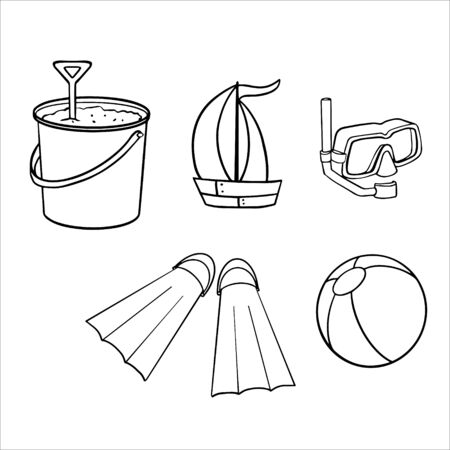Doodle sketch ball, bucket, swimming mask and toy boat. Illustration of items for the beach Vettoriali