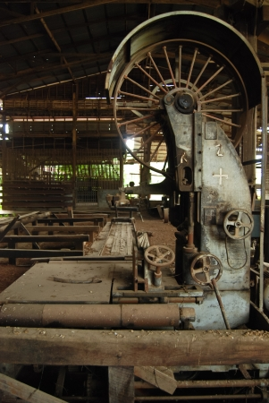 wood machinery in wood mill photo