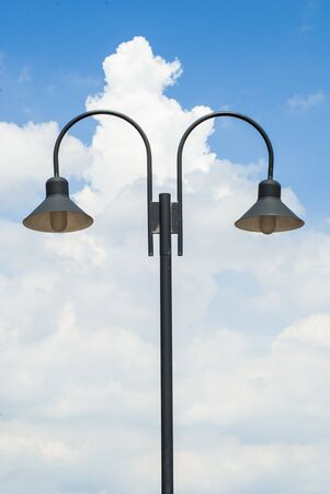 Simple lamp posts, sky backgrounds photo