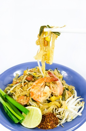 quick snack: Padthai, Thai food, on white background Stock Photo