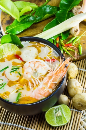 popular soup: Tom Yum Kung is Thai food, spicy soup, Thai herb, Popular Thai dishes Stock Photo