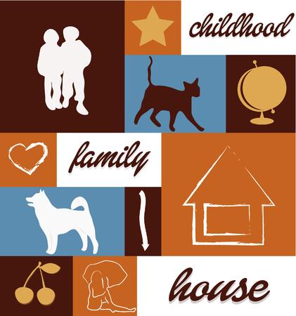 middle aged couple: childhood family house cat dog education friends cherry arrow hurt star globe Illustration