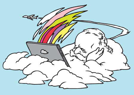 contemplation: The cloud with a tablet hangs over the earth and communicates with the friends