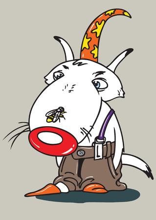 изумление: Волк в шапке с пчелой на носу с удивлением смотрит на события Иллюстрация