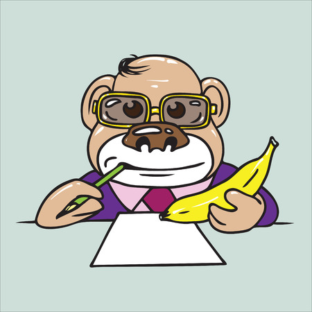 paranoia: The monkey the psychiatrist with a banana in a hand attentively listens to your associations