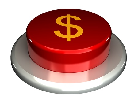 kickoff: The red button, dollar, isolated on a white background 3d