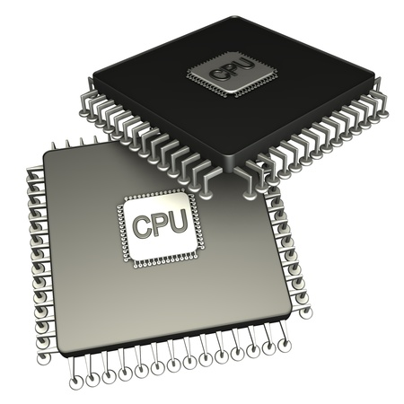 Two computer chip processor. Icon 3D. isolated on white background Reklamní fotografie