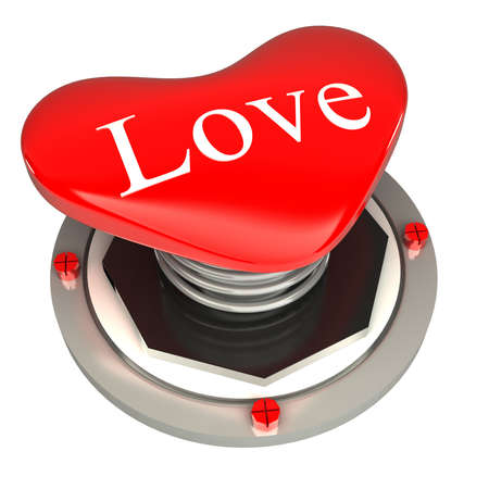 Red button in the form of hearts, love 3d concept isolated on white background photo