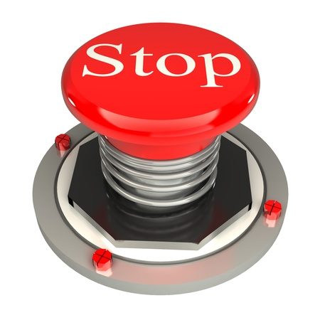 The red button, stop, 3d concept isolated on white background Stock Photo - 19122775