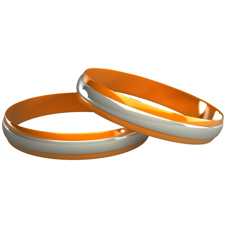 gold and silver wedding rings 3d photo