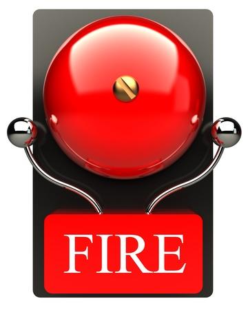 evacuatie: Alarm beeld Rode brand bel Hoge resolutie 3D Stockfoto