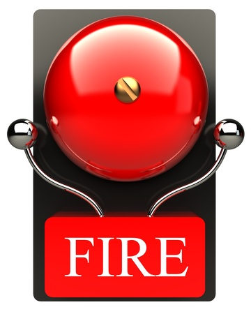 Red fire alarm bell  High resolution  3D image photo