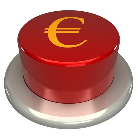 key words art: The red button, the euro, isolated on a white background 3d