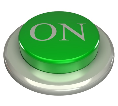 The green button, ON, 3d concept isolated on white background photo