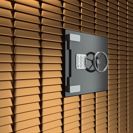 3D bank vault  background gold bars photo