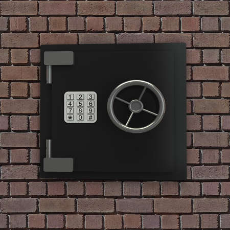 3D bank vault  background brickwork photo