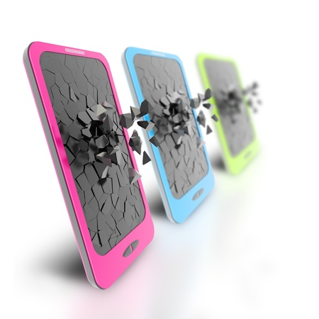 Green, blue, pink smartphone, 3d rendering  Isolated on white  Stock Photo