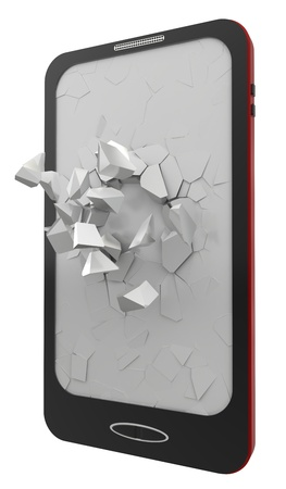 Black smartphone, 3d rendering  Isolated on white  photo