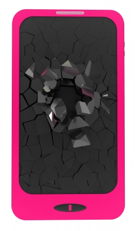 Pink smartphone, 3d rendering  Isolated on white  photo