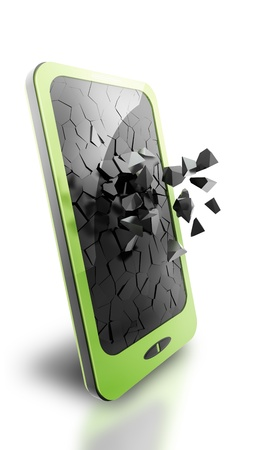 Green smartphone, 3d rendering  Isolated on white Stok Fotoğraf - 19634149