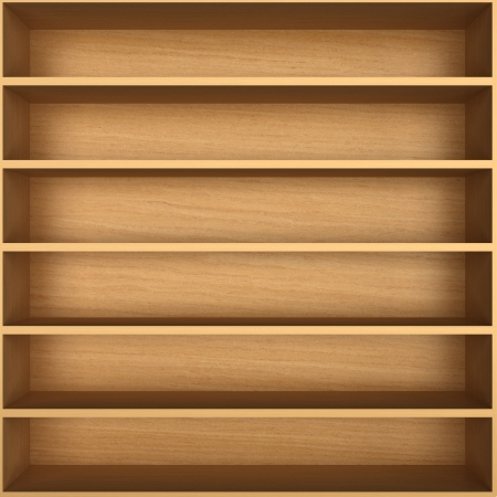 Blank wooden bookshelf Stock Photo - 20498381