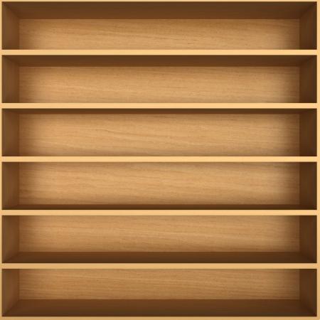 wooden shelves: Blank wooden bookshelf