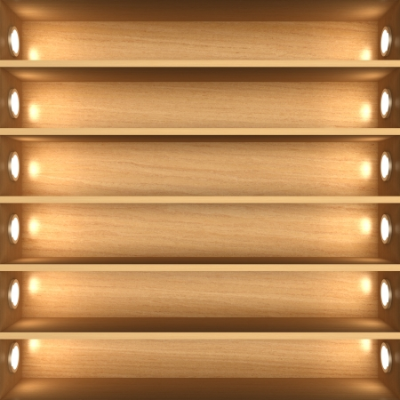Blank wooden bookshelf photo