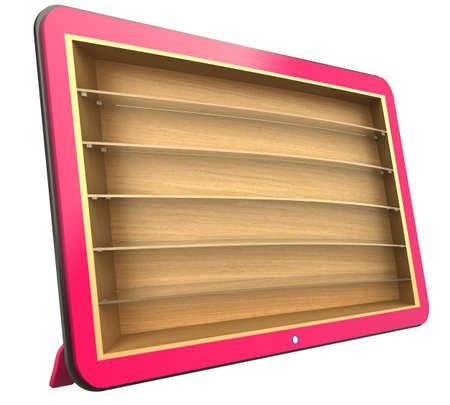 glas 3d: Monitor, bookshelf, 3d rendering  Isolated on white