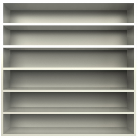 3d, an empty bookcase with glass shelves photo