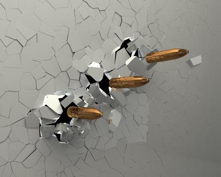 durchstechen: Kugeln durchbohren die Wand Illustration 3D Lizenzfreie Bilder