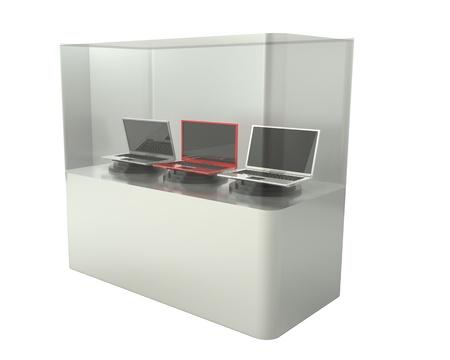 3d, laptop showcase, isolated, white backgroun photo