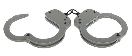 Handcuffs  isolated white background  3d illustration illustration