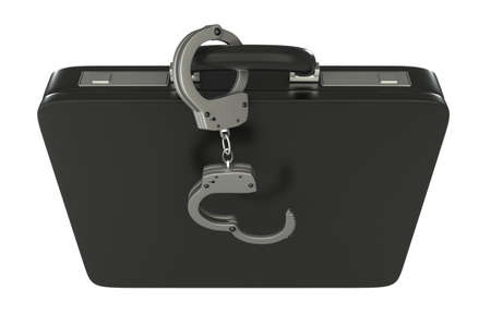 Black case with handcuffs  isolated  white 3d photo