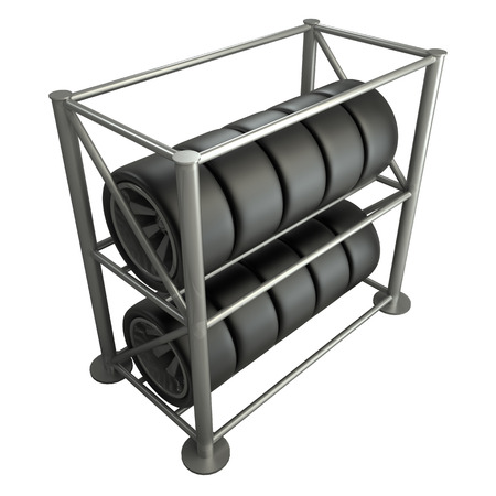 car tires on a rack  illustration  white 3d illustration