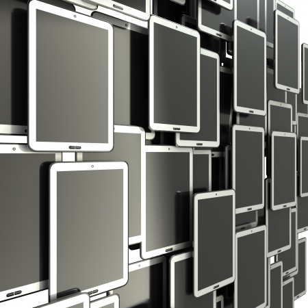 A lot of Tablet PC  isolated on white 3d illustration  high definition illustration