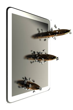 Three bullets penetrate the tablet PC  isolated  white 3d photo