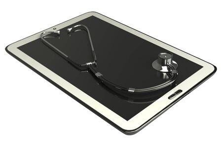 Tablet PC and stethoscope, concept  white isolated  3d photo