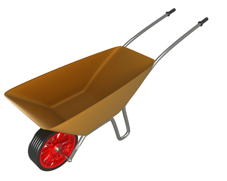 high definition: Wheelbarrow, isolated on a white illustration of 3D  high definition Stock Photo