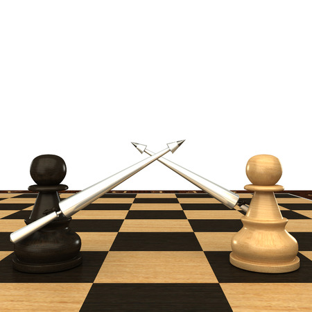 Black and white chess pawn with spears  isolated  white 3d photo