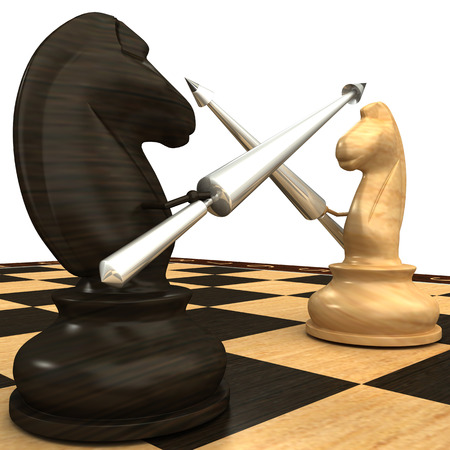 Black and white chess horse with spears  isolated  white 3d photo