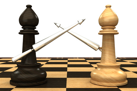 preferment: Black and white chess officers armed with spears  isolated  white 3d