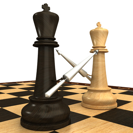 Black and white chess king with spears  isolated  white 3d photo