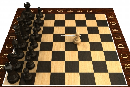 preferment: Concept  Chess pawn with spears  isolated  white 3d