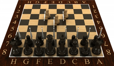 Concept  Chess pawn with spears  isolated  white 3d photo