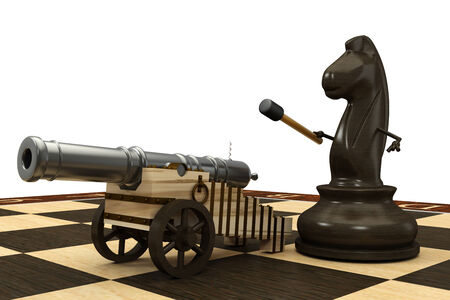 Chess horse armed with a cannon  isolated  a white background  3d photo
