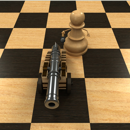 Chess pawn armed with a cannon  isolated  a white background  3d photo