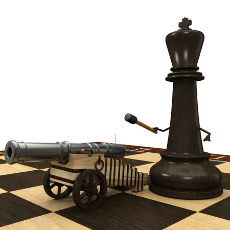 Chess King with a cannon  isolated  a white background  3d photo