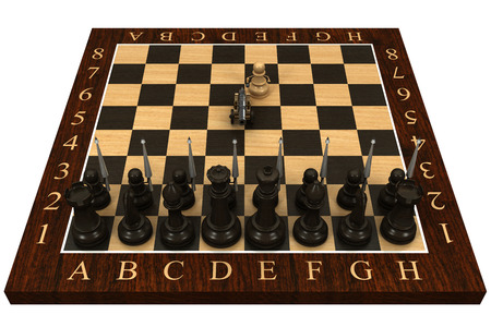 Chess pawn armed with a cannon  Concept  isolated  a white background  3d photo