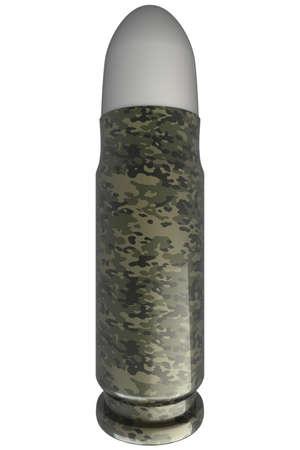 3d bullet: Bullet  isolated  white background  3d  illustration