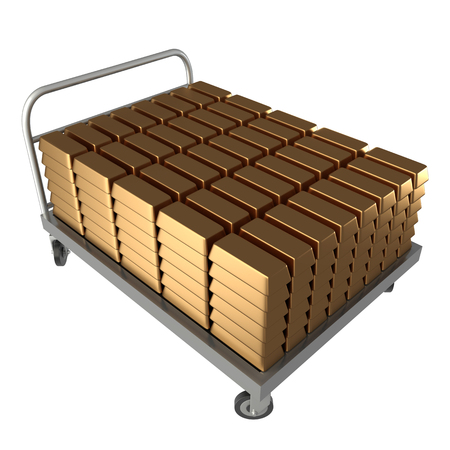sack truck: Hand Truck, gold bars  isolated  a white background  3d
